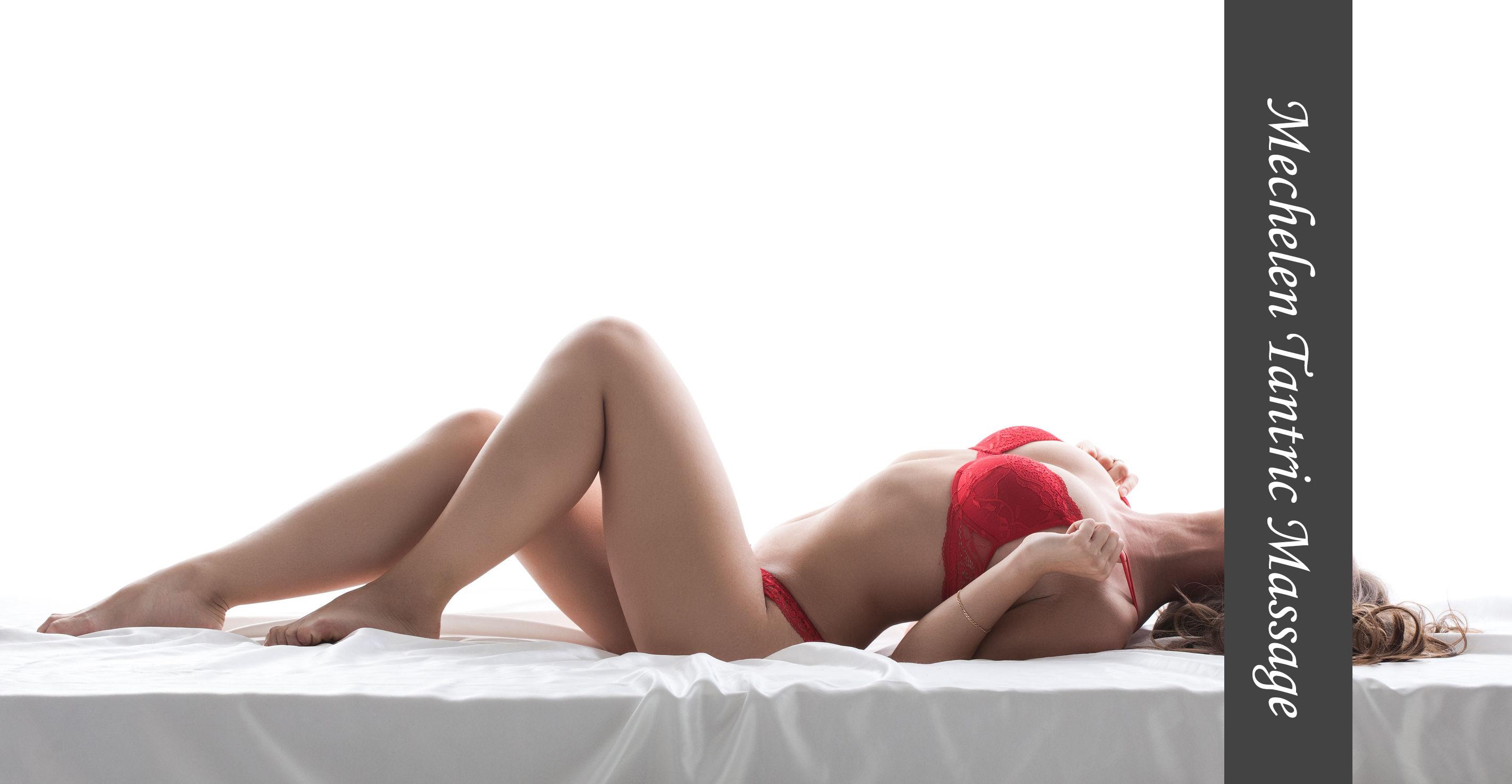 30743688 - image of excited slim model posing lying in red lingerie